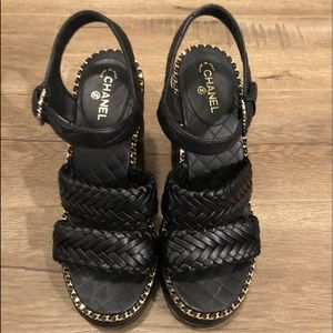 Chanel Black Quilted Calfskin With Chains Sandals